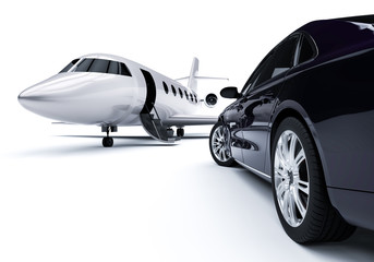 Luxurious Car And Airplane / 3D  render image representing Luxurious Car And Airplane
