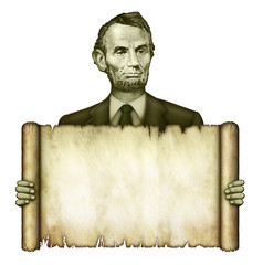 Blank Scroll Held by Abraham Lincoln