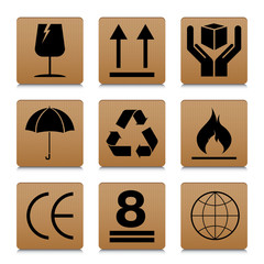 Fragile symbol set with brown cardboard texture design. Fragile symbol vector icon.