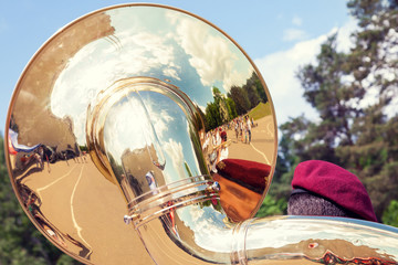 Sousaphone played by military orchestra