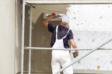 Plasterer crafts man worker plastering