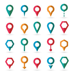 Vector colorful map pointer icons set on white background