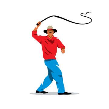 Vector Man with whip Cartoon Illustration.