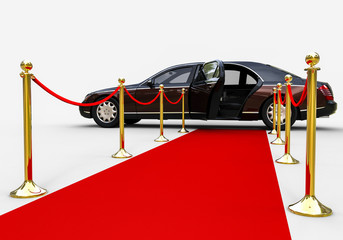 Waiting limousine  / 3D render image representing a high class limousine with a open door waiting at the end of a red carpet