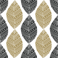 Bohemian eamless pattern with black and gold ethnic leaves. Vector textile swatch or packaging design. Tribal design