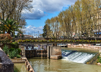 The Canal de la Robine in Narbonne city.  France