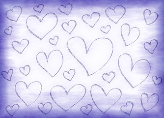 Lilac background with abstract hearts