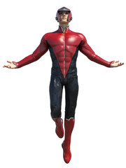 3d CG illustration of super hero male isolated on white