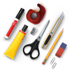 Office tools set.Marker.Tape dispenser.Glue.Sharpener.Scissors.Cutter knife.Pencil.Eraser.Clips.