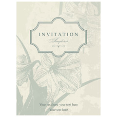 Wedding Invitation card with lily blue and beige