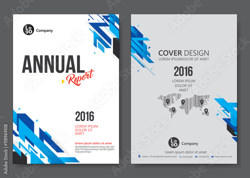 Cover Design Templates Layout With Blue Tone Vector Annual Report - Annual report design templates 2016