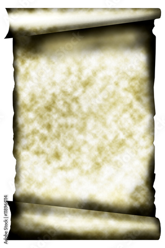 Old paper scroll on white background