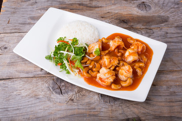 Thai food with prawns and cashew nuts