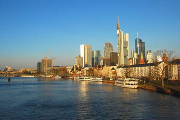 Frankfurt city morning view from the Main embankment