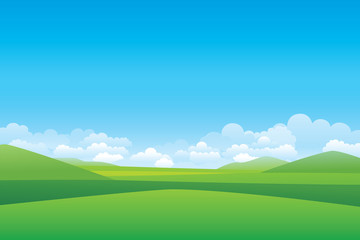 Printed roller blinds Blue Green hill landscape. Vector illustration of panorama view with green mountain landscape and cloud sky.