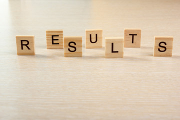 Results word. Succeed business success, be a winner in elections, pop poll or sports test, report, election result. Counting losses and profit, analyzing financial statistics