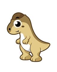 Cute illustration of a Pachycephalosaurus dinosaur.