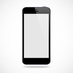 smartphone black color with blank touch screen isolated on the grey background. stock vector illustration