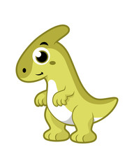Cute illustration of a Parasaurolophus dinosaur.