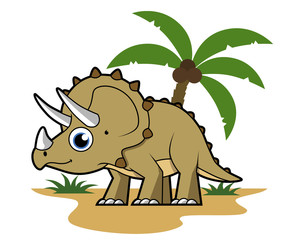 Cute illustration of a Triceratops in a tropical climate.