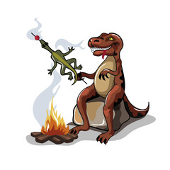 Illustration of a Tyrannosaurus Rex cooking food over a campfire.