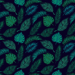 Hand drawn vector seamless pattern - Palm leaves. Tropical design