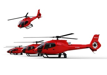 Rescuer Helicopters / 3D render image representing a fleet of rescuer helicopters