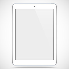 tablet white color with blank touch screen isolated on the grey background. stock vector illustration eps10
