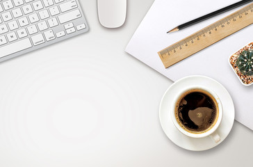 workplace with blank screen smartphone, tablet, coffee cup, paper and notebook on white wooden table. top view with copy space. over light
