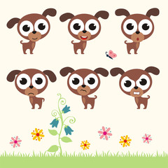 Vector set cute puppy dog. Collection isolated puppy dog. Emotion cartoon puppy dog.