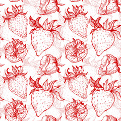 Hand drawn vector illustration - Strawberry background. Seamless pattern