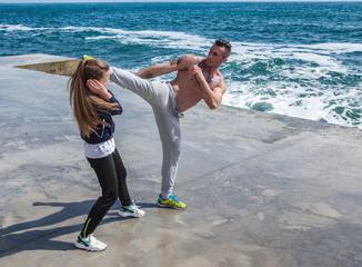 Children training karate