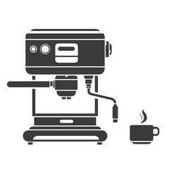 A vector illustration of a Coffee Machine with hot espresso cup silhouette icon.