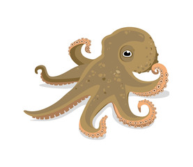 children's illustration of a funny octopus on a white background