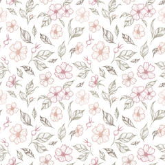 Hand drawn vector background. Seamless pattern with flowers and leaves