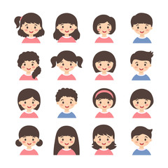 Kids Avatar Cartoon Vector Set. Set of cute boys and girls character with different hair style isolated on white background.
