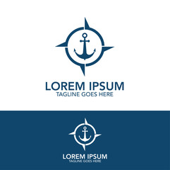 Steering wheel and anchor navigation equipment isolated logo design concept
