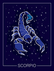 Zodiac sign Scorpio on night starry sky.