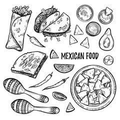 Hand drawn vector illustrations - Mexican food