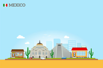 Mexico landmarks skyline colored illustration on sky blue background. Vector icon