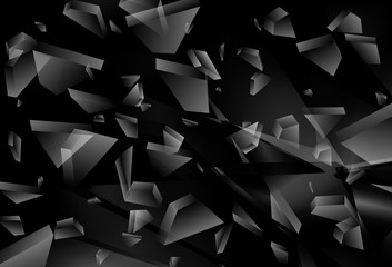 Abstract black 3d explosion. Broken Glass. Vector illustration
