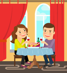 Couple sitting at a table and celebrates. Vector illustration