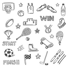 Set of sports doodles elements. Hand draw icons