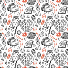 Hand drawn vector background - Mexican food