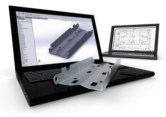 Computer Aided Design / 3D render image representing computer aided design