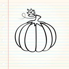 Single pumpkin with doodle design