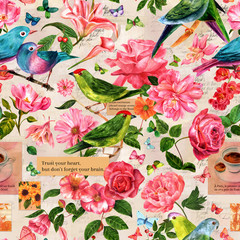 Seamless pattern with birds, flowers, butterflies, old letters
