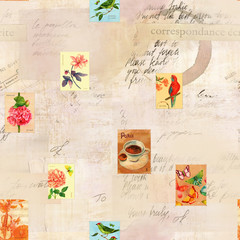 Vintage seamless pattern with old ephemera and postage stamps