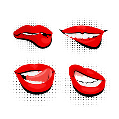 colored icons sexy shiny red lips pop art