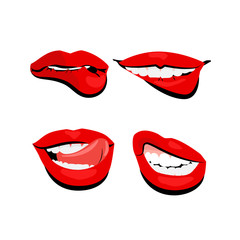 colored icons sexy shiny red lips